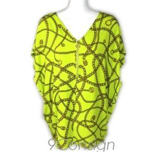 Michael Kors Caftan Tunic Flutter Top Shirt Chain